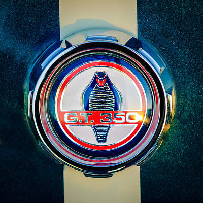 Car Photograph - Shelby Cobra Gt 350 Emblem -0639c by Jill Reger