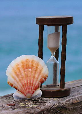 Shells Photograph - Shell And Hourglass Sand Timer  by Cathy Lindsey