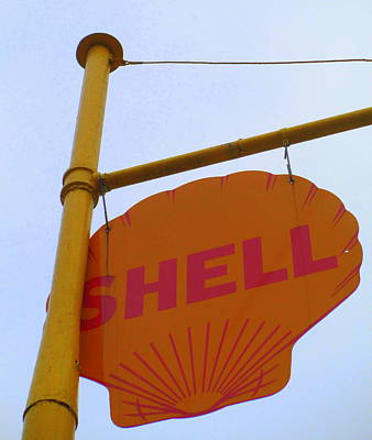 Shell Sign Photograph - Shell Hanging Sign by Randall Weidner