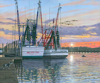 Dolphin Painting - Shem Creek Shrimpers Charleston  by Richard Harpum