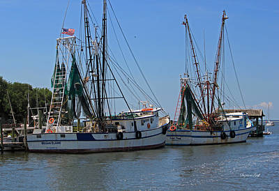 Shem Creek Shrimpers Print by Suzanne Gaff