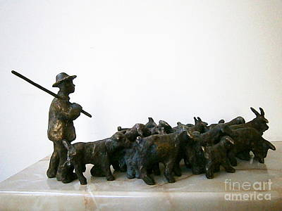 Bronze Sculpture - Shepherd With A Flock Of Goats by Nikola Litchkov