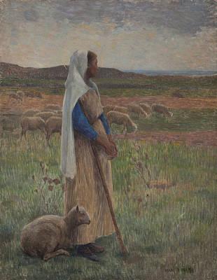 Shepherdess Painting - Shepherdess With Her Sheep by Henri Duhem