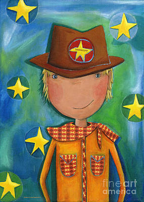 Colored Pencil Painting - Sheriff - Cowboy by Sonja Mengkowski