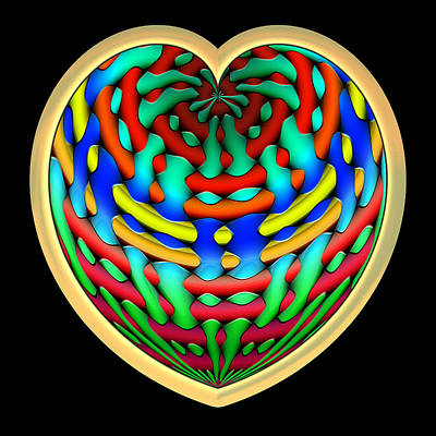Abstract Hearts Digital Art - Shielded - Gold by Wendy J St Christopher