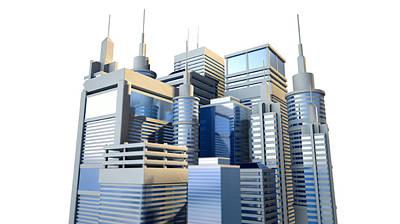 Shiny Modern City Cluster Print by Allan Swart