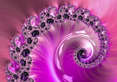 Rhinestone Digital Art - Shiny Pink Fractal Spiral by Matthias Hauser