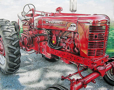 Reflective Drawing - Shiny Red Tractor by Tara Aguilar