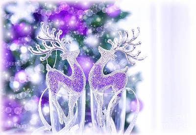 Shiny Reindeer Decor Print by Anna Omelchenko