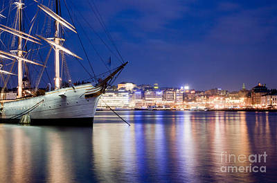Boat Photograph - Ship At Night In Stockholm by Michal Bednarek