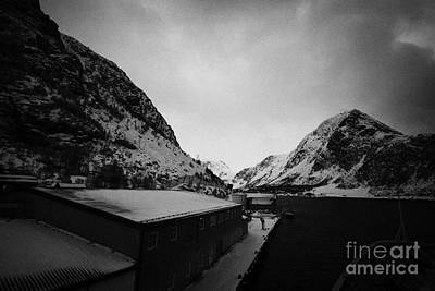 Ship Docked At Oksfjord During Winter Norway Europe Print by Joe Fox
