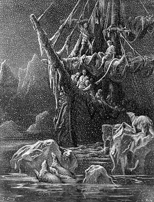 Coleridge Drawing - Ship In Antartica by Gustave Dore