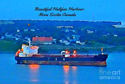Ship In Beautiful Halifax Harbour Print by John Malone