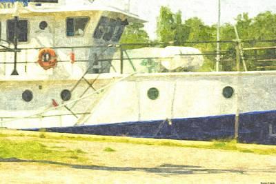 Lake Michigan Drawing - Ship In Safe Harbor by Rosemarie E Seppala