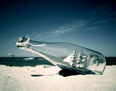 Ship In The Bottle Print by Michal Bednarek