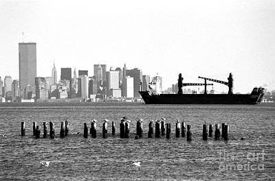 Ship In The Harbor 1990s Print by John Rizzuto