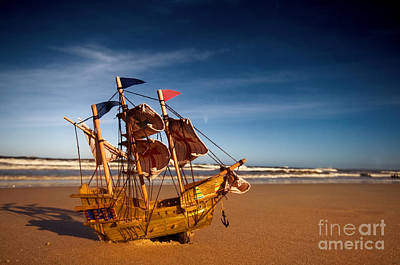 Warship Photograph - Ship Model On Summer Sunny Beach by Michal Bednarek