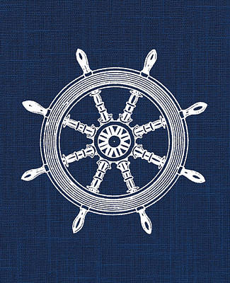 Pirate Ship Digital Art - Ship Wheel Nautical Print by Jaime Friedman
