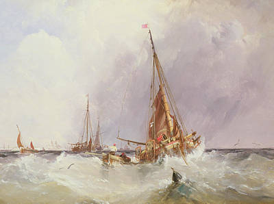 Storm Clouds Painting - Shipping In The Solent 19th Century by George the Elder Chambers