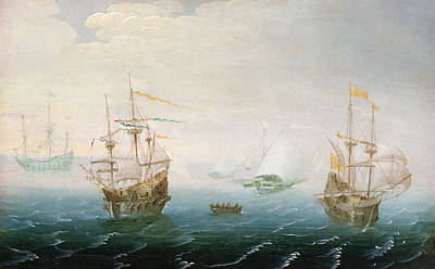 Water Vessels Painting - Shipping On Stormy Seas by Aert van Antum