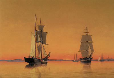 Ships In The Boston Harbor At Twilight Print by William Bradford