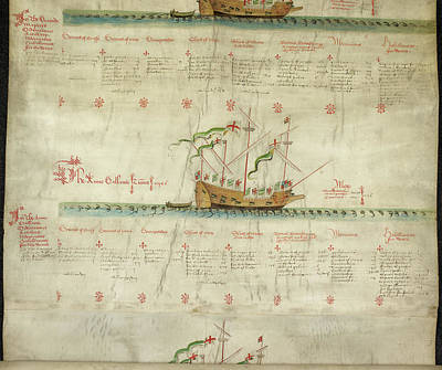Ships In The King's Navy Fleet From 1547 Print by British Library