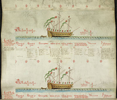 Ships In The King's Navy Fleet From 1548 Print by British Library