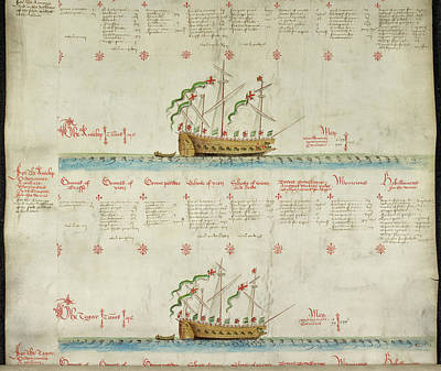 Ships In The King's Navy Fleet From 1549 Print by British Library