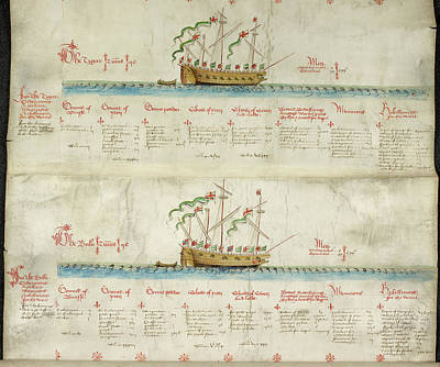 Ships In The King's Navy Fleet From 1550 Print by British Library