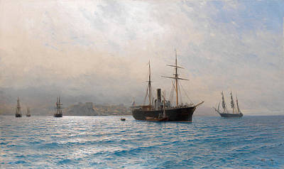 Lev Lagorio Painting - Ships On A Calm Sea by Lev Feliksovich Lagorio