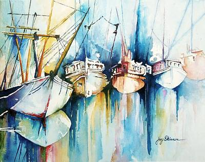 Dingy Painting - Ships Passing In The Night by Joy Skinner
