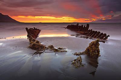 Shipwreck At Sunrise Original by Jon Hilmarsson