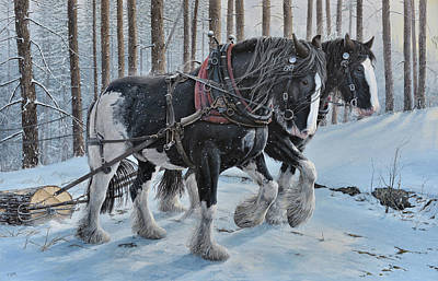 Logging Painting - Shire Horse Logging by Troels Kirk