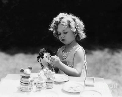 Shirley Temple Photograph - Shirley Temple Tea Party With Doll by MMG Archives