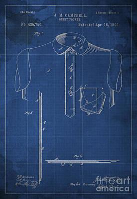 Shirt Pocket Blueprint Patent Print by Pablo Franchi