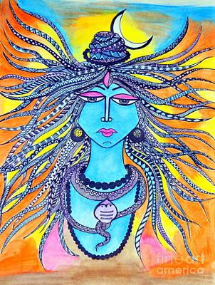 Baba Painting - Shiva - The Three Eyed Indian God by Sketchii Studio