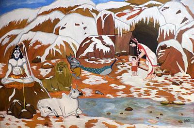 Shiva And His Family Print by Pratyasha Nithin