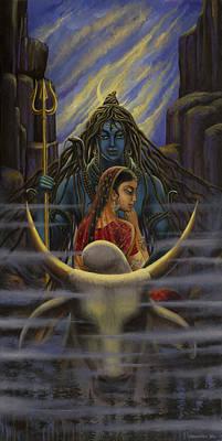 Parvati Painting - Shiva Parvati. Night In Himalayas by Vrindavan Das