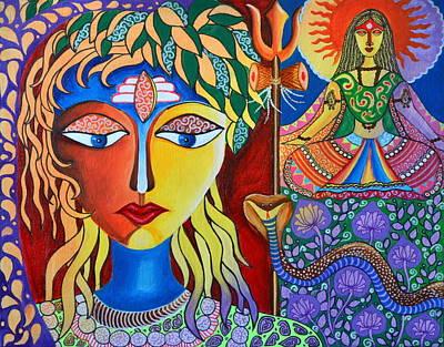 Madhubani Painting - Shiva-sati by Deepti Mittal