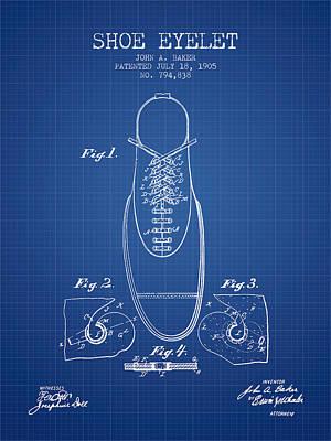 Shoe Digital Art - Shoe Eyelet Patent From 1905 - Blueprint by Aged Pixel
