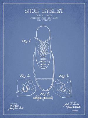 Shoe Digital Art - Shoe Eyelet Patent From 1905 - Light Blue by Aged Pixel