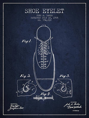 Shoe Digital Art - Shoe Eyelet Patent From 1905 - Navy Blue by Aged Pixel