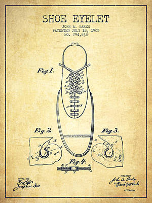 Shoe Digital Art - Shoe Eyelet Patent From 1905 - Vintage by Aged Pixel