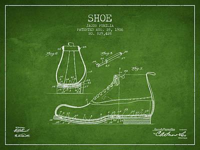 Shoe Digital Art - Shoe Patent From 1906 - Green by Aged Pixel