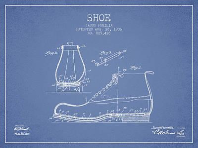 Shoe Digital Art - Shoe Patent From 1906 - Light Blue by Aged Pixel