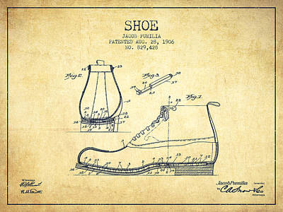 Old Boot Digital Art - Shoe Patent From 1906 - Vintage by Aged Pixel