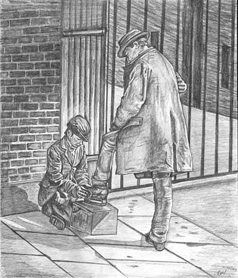 Walkway Drawing - Shoe Shine by Beverly Marshall