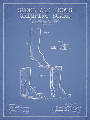 Old Boot Digital Art - Shoes And Boots Crimping Board Patent From 1881 - Light Blue by Aged Pixel