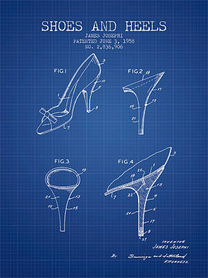 Shoes And Heels Patent From 1958 - Blueprint Print by Aged Pixel