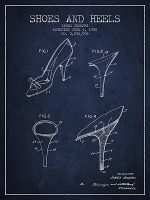 Shoes And Heels Patent From 1958 - Navy Blue Print by Aged Pixel